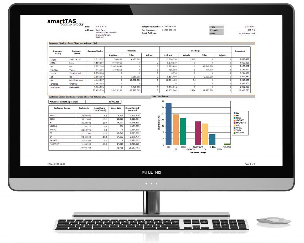 Computer screenshot showing SmartTAS monthly stocks